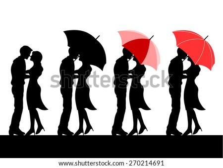 set of sweet couple lover silhouette under red umbrella and raining, vector design, pattern - stock vector