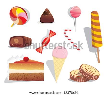 set of sweet dessert - stock vector