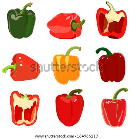 Set of Sweet pepper. Isolated on white - stock vector