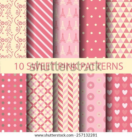 set of sweet pink pattern, for valentines day, Pattern Swatches, vector, Endless texture can be used for wallpaper, pattern fills, web page,background,surface - stock vector