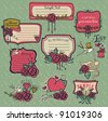 Set of sweet red rose memories label - background with space for text - stock vector