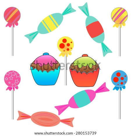 set of sweets. Candy, cupcakes, candy on a stick - stock vector