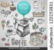 set of sweets, tea, coffee, retro style - stock vector