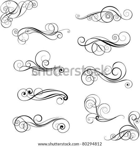 Set of swirl design ornaments - stock vector