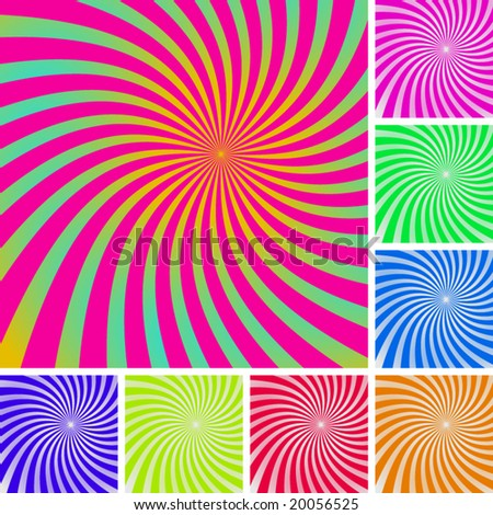 Set of  swirly patterns. Wave backgrounds. - stock vector