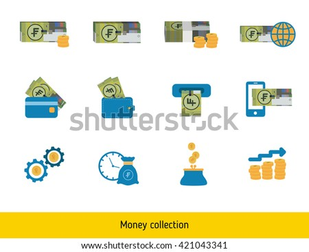 Set of Swiss franc. Banknote and coin of Swiss franc.  - stock vector