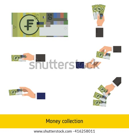 Set of swiss franc. Holding, throwing swiss franc. - stock vector