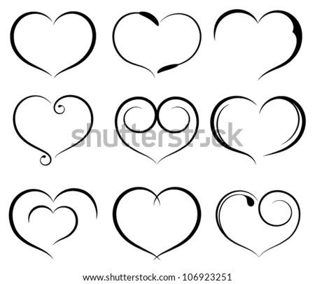 Set of symbol heart - stock vector