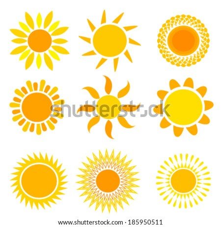 Set of symbolic suns - vector illustration - stock vector