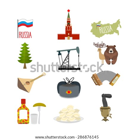 Set of symbols and icons for Russia: Kremlin and balalaika, oil rig and vodka, with earflaps and a Samovar, dumplings and accordion. Flag of Russian Federation. Vector illustration  - stock vector