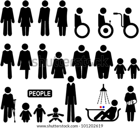Set of symbols depicting diseased people and other characters - stock vector