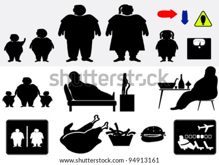Set of symbols depicting over-sized people - stock vector
