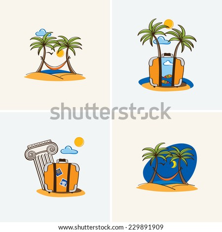 Set of symbols, elements for tourism and travel. Summer travels. Vector. - stock vector