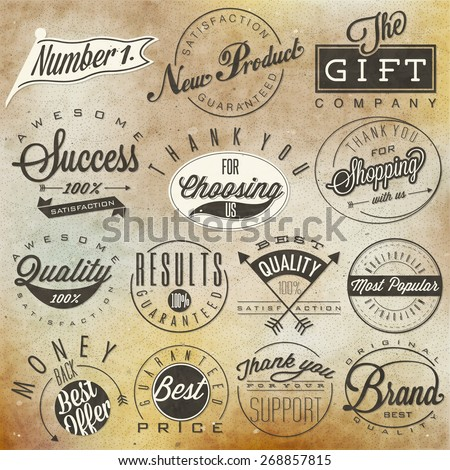 Set of symbols for Best Quality, Original Brand, New Product, Money Back. Thank you for choosing us, for your support, for shopping with us. Retro vintage style, hand lettering typographic symbols. - stock vector