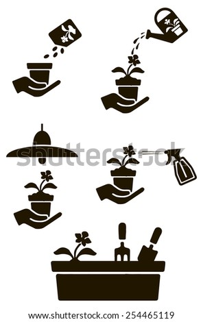 Set of symbols for the care of house plants - stock vector
