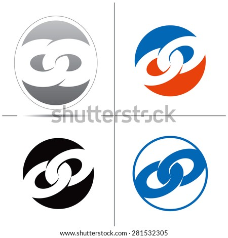 Set of symbols in the form of chain links. Useful for create a logo. Vector illustration - stock vector