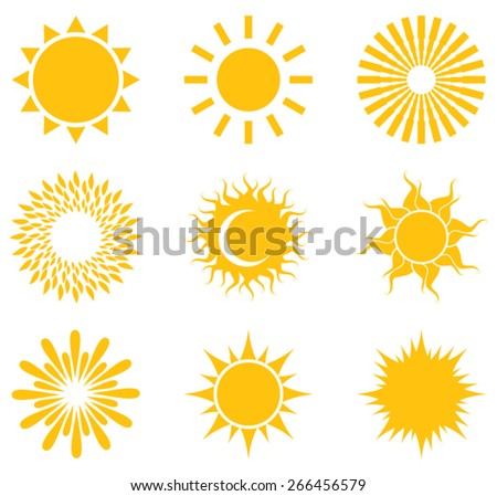 Set of symbols of the sun.