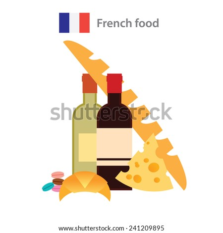 Set of symbols of traditional French food - stock vector