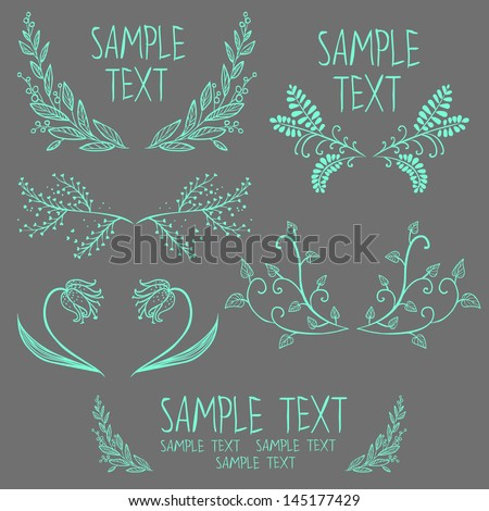 Set of symmetrical floral graphic design elements - stock vector