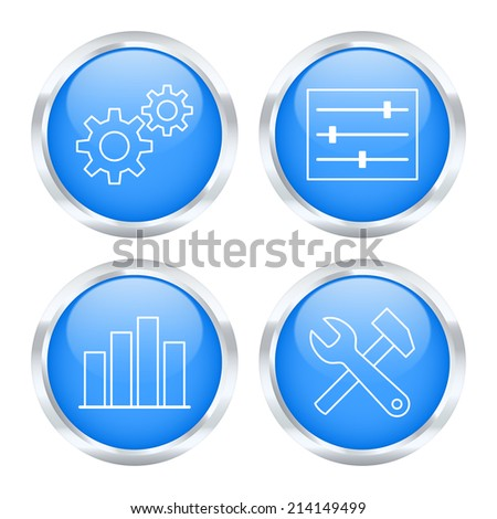 Set of system settings buttons. Vector illustration. - stock vector
