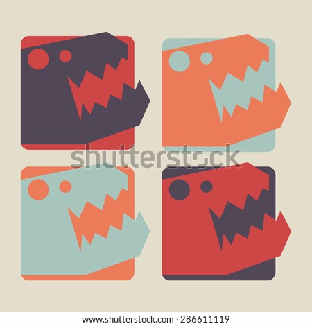 Set of T - rex dinosaur head icon sign - stock vector