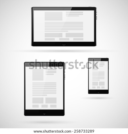 Set of tablet computers template. Vector illustration. - stock vector