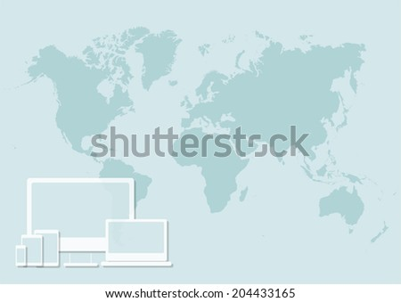 Set of tablets, computer and laptop. Illustration design over a world map background