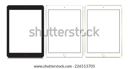 set of tablets Isolated On White. Vector illustration, ipad style. - stock vector