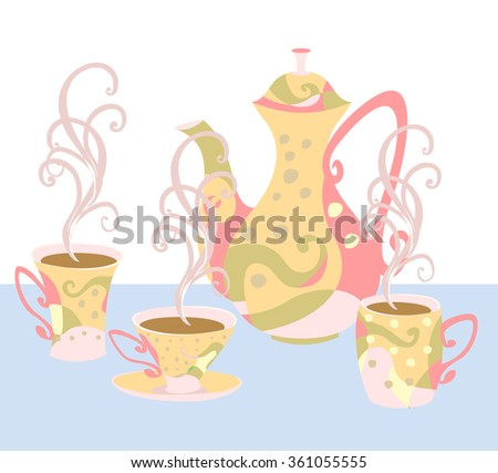 Set of tableware for tea and coffee with abstract print. Elegant teapot and cups in the style of Doodle. Fully insulated objects. - stock vector