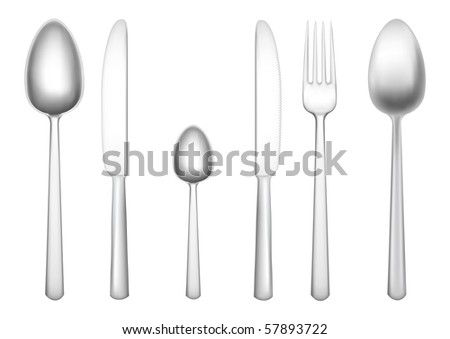 Set of tableware isolated on the white background - stock vector