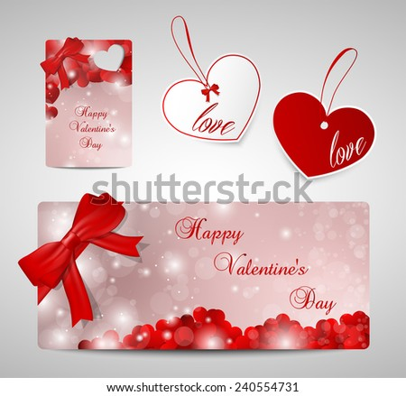 Set of tags and cards for Valentines day, red.