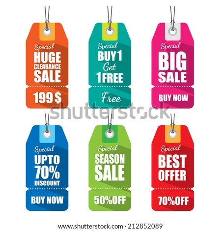 Set of tags for sale with long shadow.vector - stock vector