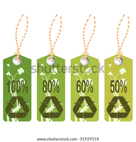 Set of 4 tags/labels with recycling icons