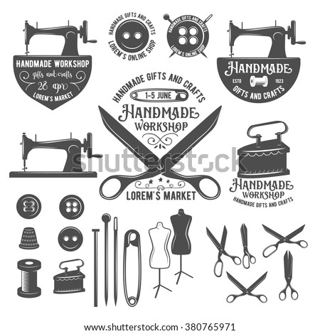 Set of tailor labels, badges, design elements and emblems. Tailor shop design elements vector. Sewing machine. Sewing needle. Sewing buttons. Sewing thread. Seving pin. Sewing tools. Tailor dummy.  - stock vector