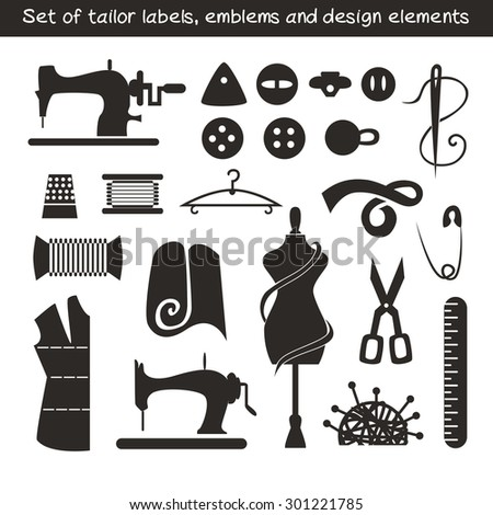 Set of tailor labels, emblems and design elements. - stock vector