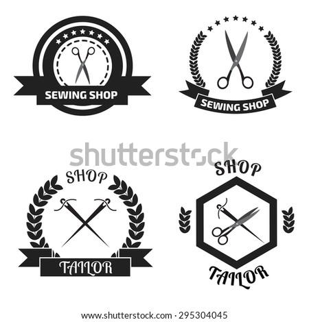 Set of tailor logo labels, emblems. Tailor shop theme. Tailor shop logo - stock vector