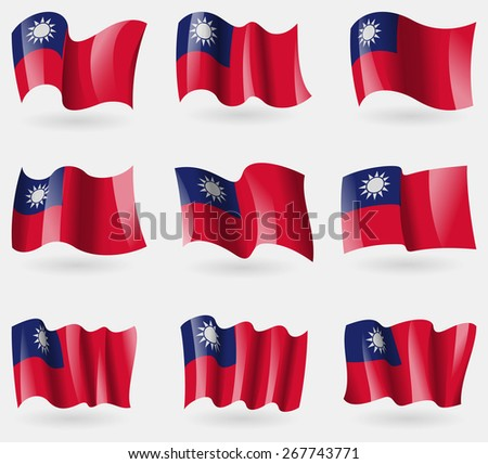Set of Taiwan flags in the air. Vector illustration - stock vector