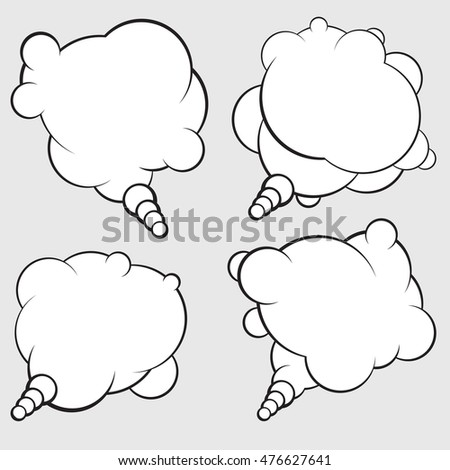 Set of 4 talking bubbles with white fill.