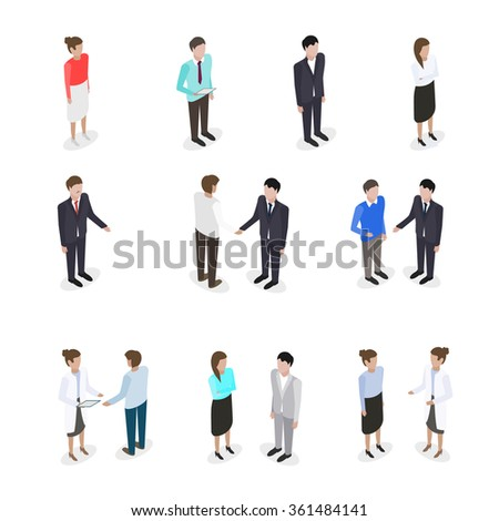 Set of talking business people in isometric style vector illustration - stock vector