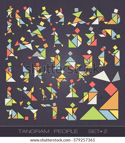 Set of tangram people on grunge background. Tangram shapes. vector elements for design.