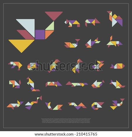 Set of tangram wild animals - vector illustration