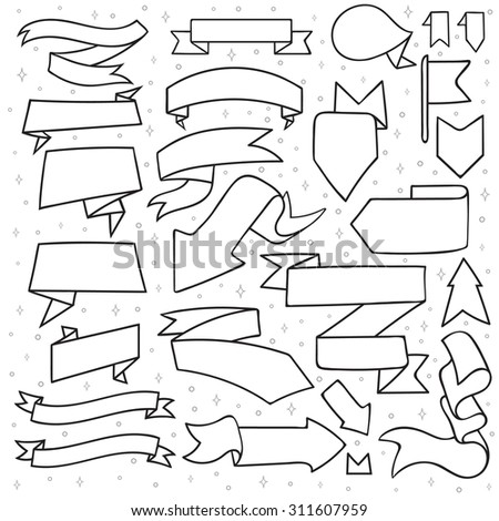 Set of 25 tapes and arrows doodle handmade. Monochrome tape. New Year's decor. Ribbon design. Tape sketch - stock vector