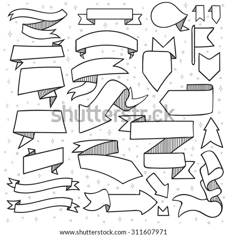 Set of 25 tapes and arrows doodle handmade with hatching. Monochrome tape. New Year's decor. Ribbon design. Tape sketch - stock vector