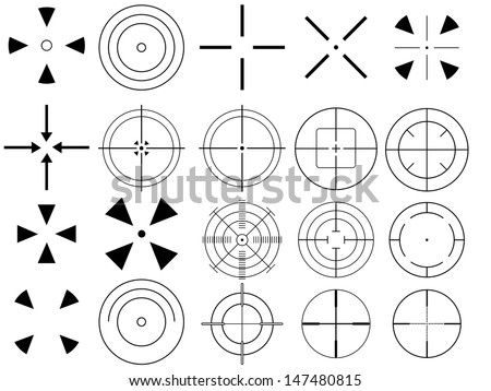 Set of targets illustrated on white background - stock vector