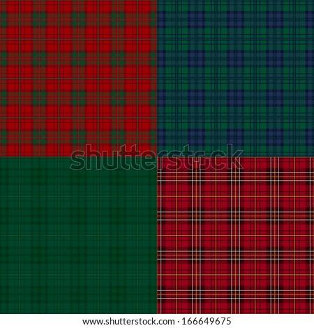 Set of tartan check backgrounds. - stock vector
