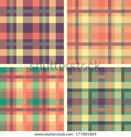 set of tartan seamless patterns  - stock vector