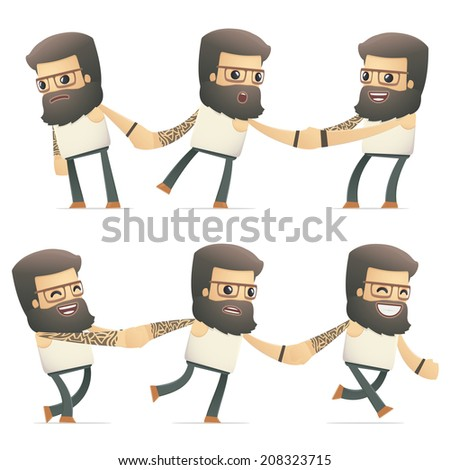 set of tattoo artist character in different interactive  poses - stock vector