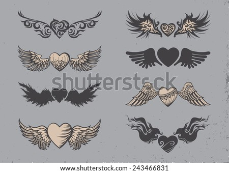 Set of tattoo black hearts with wings. - stock vector