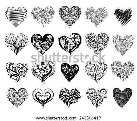 Set of 20 tattoo hearts, vector image. - stock vector