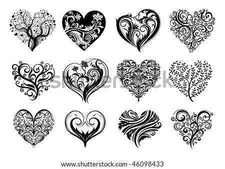Set of 12 tattoo hearts, vector image. - stock vector